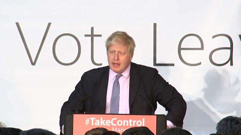 Boris Johnson addresses Vote Leave supporters in Manchester