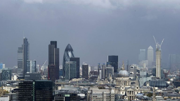 Dark clouds hang over the City of London