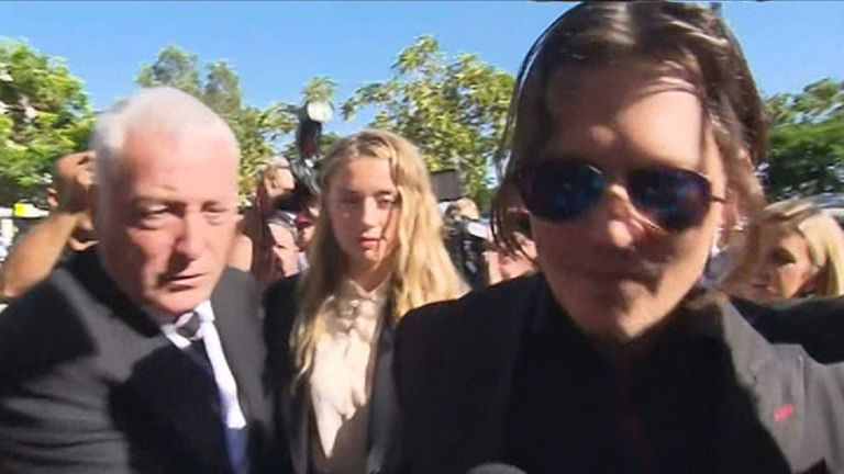 Johnny Depp and Amber Heard arrive at court in Australia