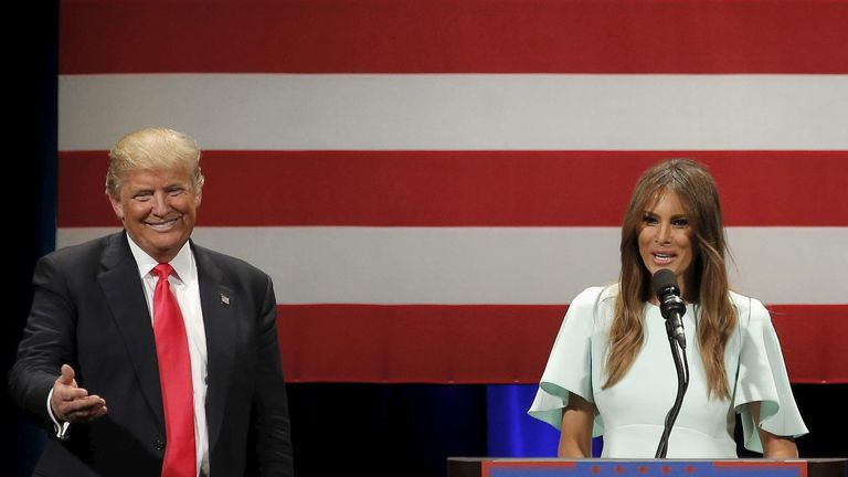 U.S. Republican presidential candidate Donald Trump is joined on stage with his wife Melania at a campaign event in Milwaukee