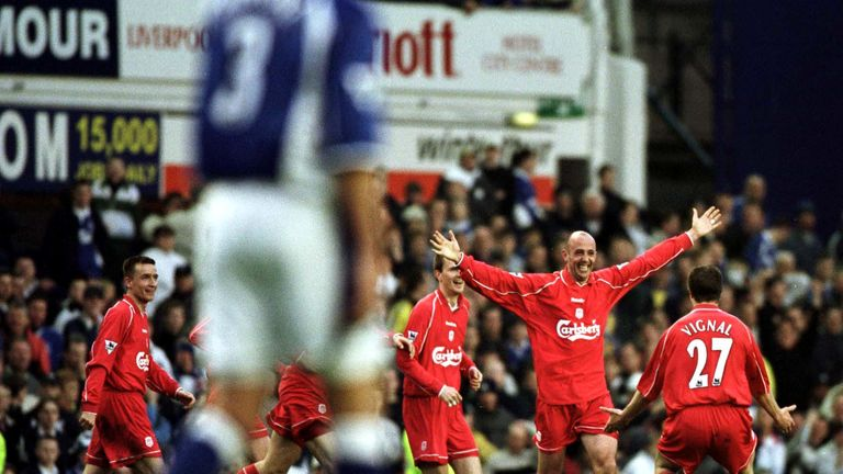 16 Apr 2001:  Gary McAllister of Liverpool celebrates after scoring the winning goal against Everton in the Premier League match at Goodison Park