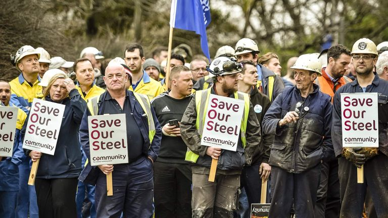Steel workers from Tata Steel in Port Talbot