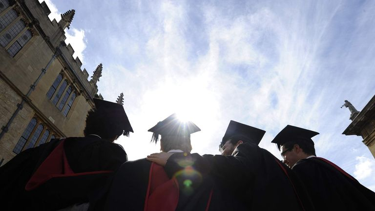 A group of graduates after a graduation ceremony at Oxford University