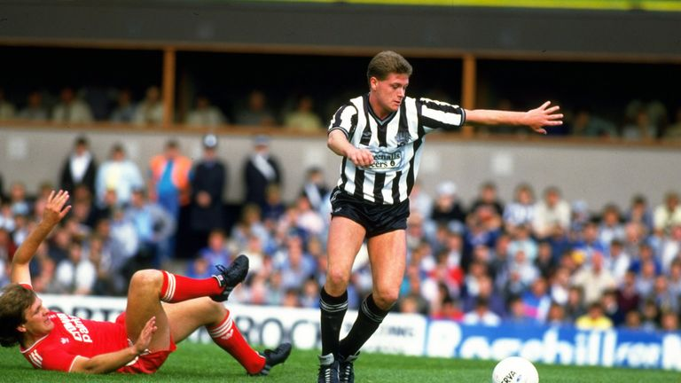 Paul Gascoigne of Newcastle United leaves Jan Molby of Liverpool sprawled on the ground during a Today League Division One match at St James'