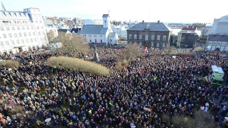 People demonstrate against Iceland's Prime Minister Gunnlaugsson in Reykjavik