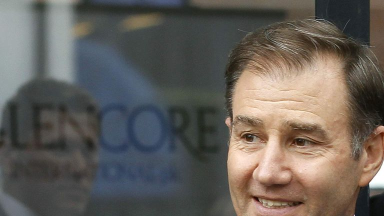 Glencore CEO Ivan Glasenberg smiles as he leaves after the company's annual shareholder meeting in the Swiss town of Zug May 9, 2012.