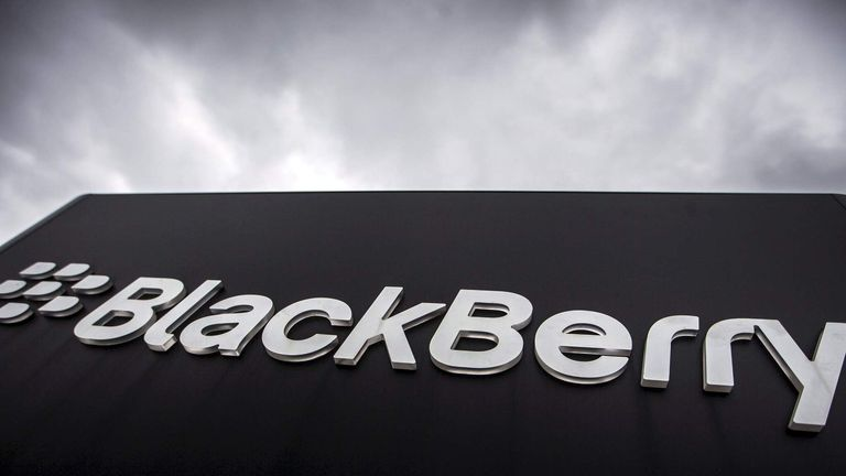 File photo of Blackberry sign seen in front of their offices on the day of their annual general meeting for shareholders in Waterloo