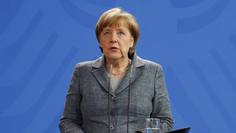 German Chancellor Merkel gives statement on Turkey's request to seek prosecution of German comedian at the Chancellery in Berlin