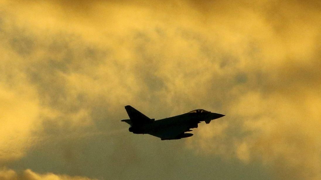 An RAF Typhoon flies above RAF Akrotiri in southern Cyprus