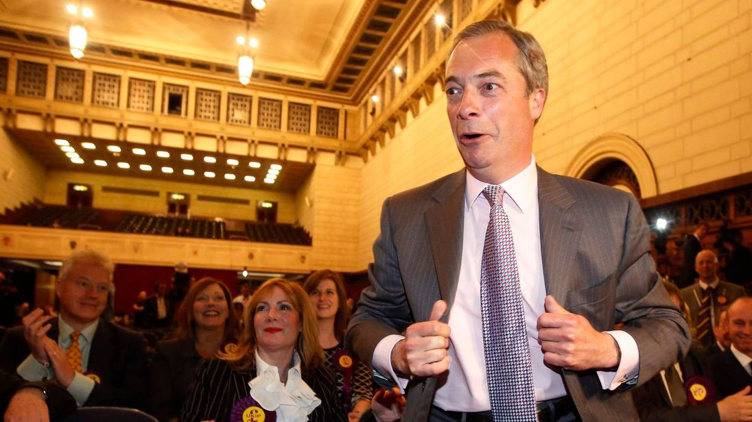 UK Independence Party  (UKIP) leader Nigel Farage walks on stage after hearing the results of the European Parliament election for the south east region, in Southampton.