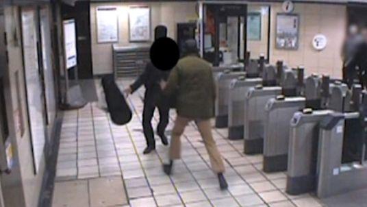 CCTV image of Muhiddin Mire attacking passenger Lyle Zimmerman at Leytonstone tube station