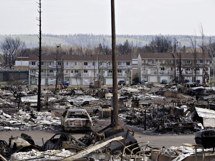 The devastated neighbourhood of Abasand is shown after being ravaged by a wildfire in Fort McMurray, Alberta, Canada