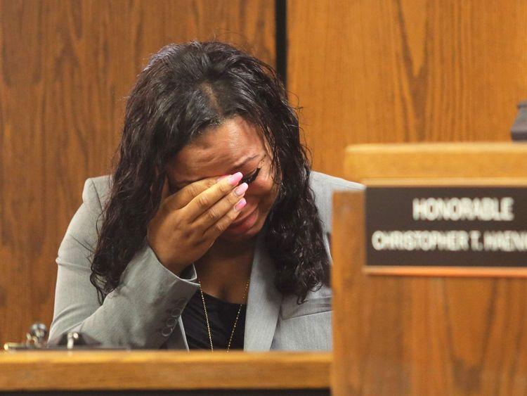 Tiana Carruther weeps during outburst by Kalamazoo suspect Jason Dalton