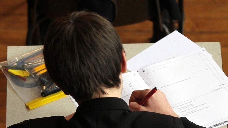 A pupil sitting an exam.