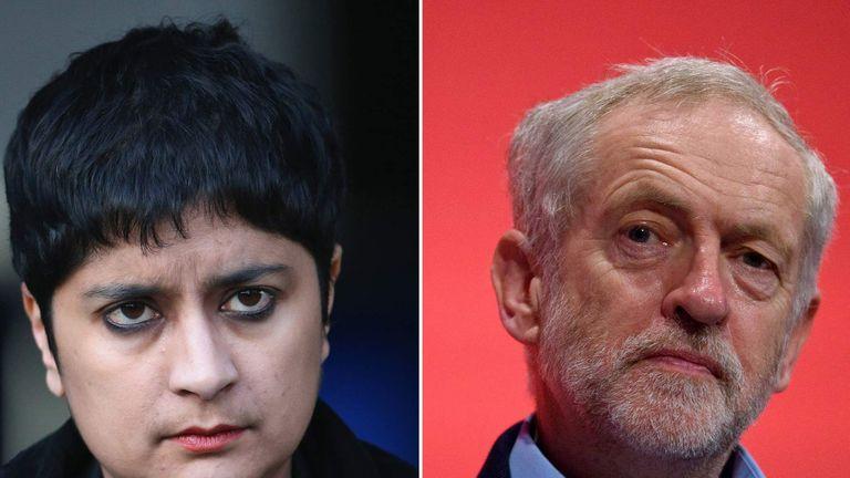 Shami Chakrabarti and jeremy Corbyn