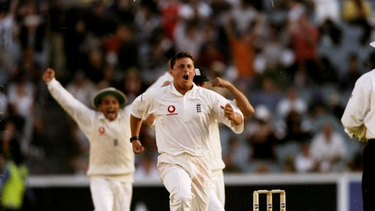 Darren Gough of England celebrates after winning the Fourth Ashes Test against Australia in Melbourne