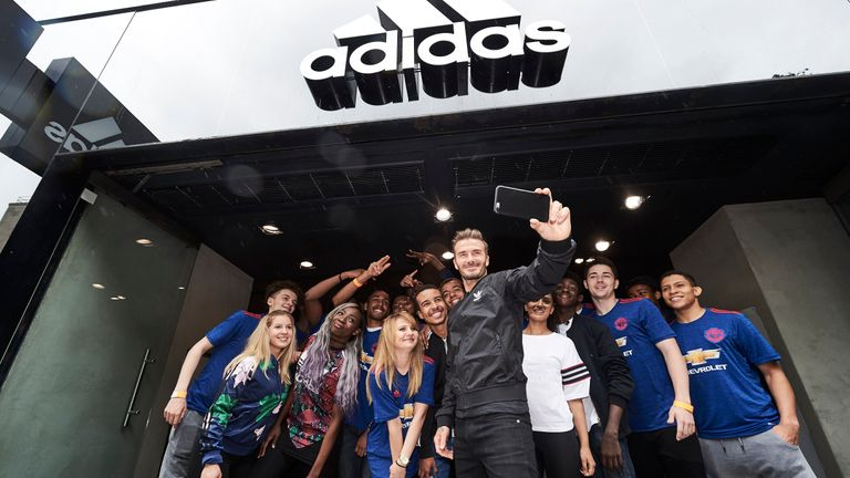 David Beckham meets fans outside the adidas store on Oxford Street for the launch of Manchester United's new away kit (Credit: Ben Duffy / adidas UK)
