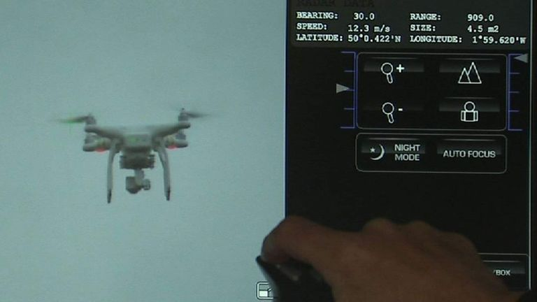 A man operates anti-drone technology