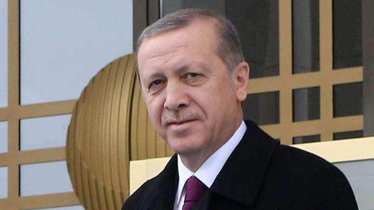 Turkish President Recep Tayyip Erdogan at presidential palace