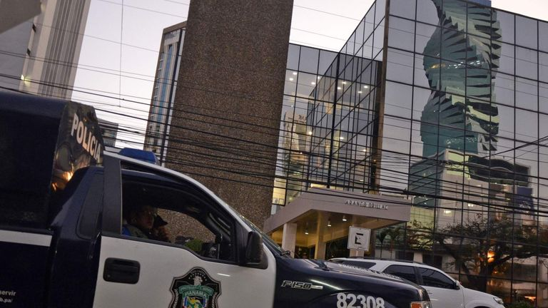 A police car outside the Mossack-Fonseca law firm offices in Panama City