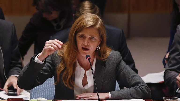 U.S. Ambassador to the U.N. Samantha Power speaks during a Security Council meeting on the crisis in Ukraine, at the U.N. headquarters in New York