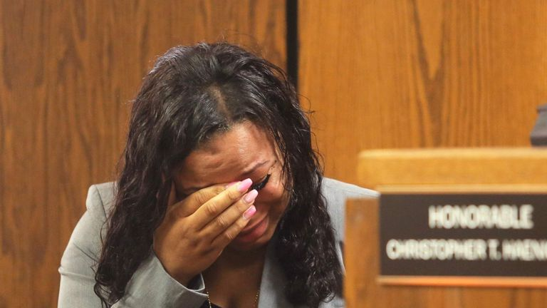 Tiana Carruther weeps during outburst by Kalamazoo suspect Jason Dalton