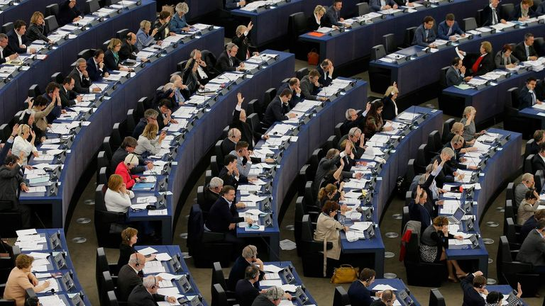 Members of the European Parliament take part in a voting session in Strasbourg