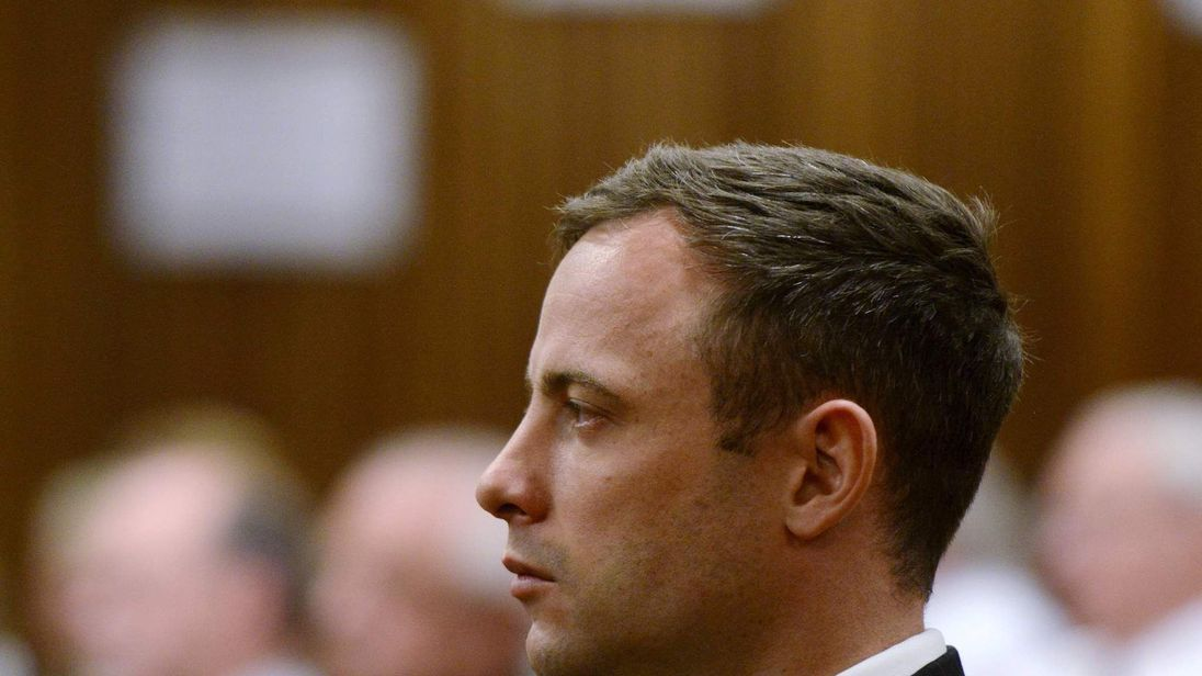South African Olympic and Paralympic track star Pistorius attends his sentencing at the North Gauteng High Court in Pretoria