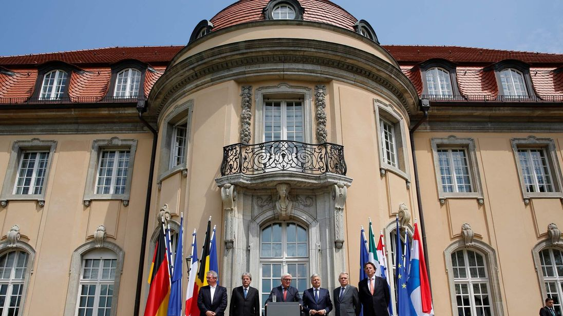 Foreign Minsters attend a press conference after a meeting of the EU founding members in Berlin