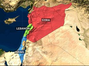 Map of Syria, Lebanon and Israel