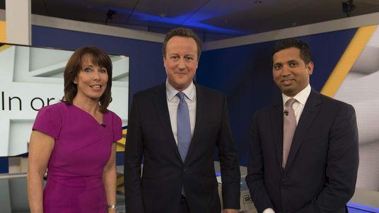 An image from the first Sky News EU TV debate with David Cameron