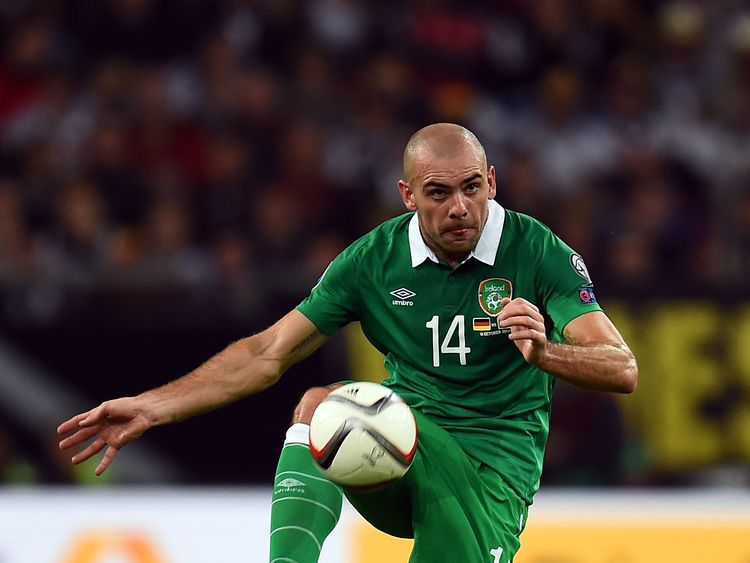 Darron Gibson during the EURO 2016 Group D qualifying match between Germany and Republic of Ireland on October 14, 2014 in Gelsenkirchen, Germany.