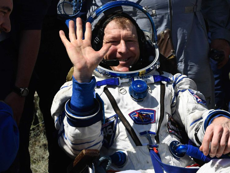 Tim Peake was all smiles after returning from the ISS