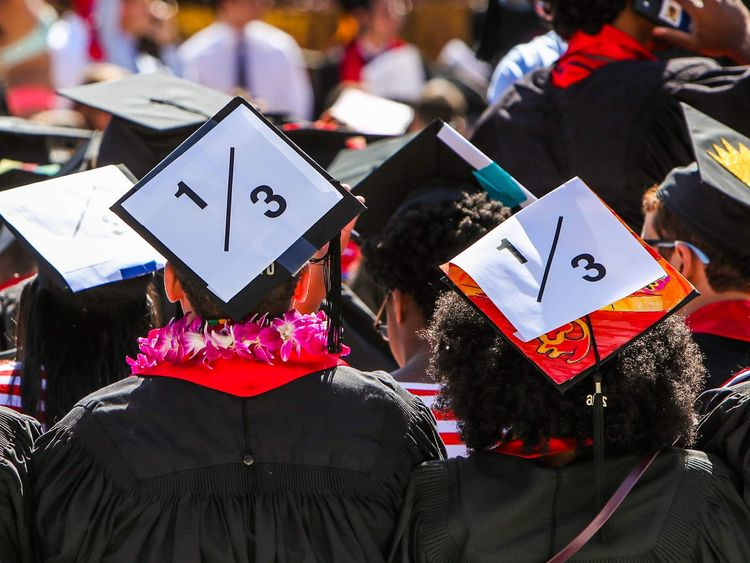 Stanford students wear a 1/3 sign on their caps to show solidarity for a Stanford rape victim during graduation ceremonies at Stanford University