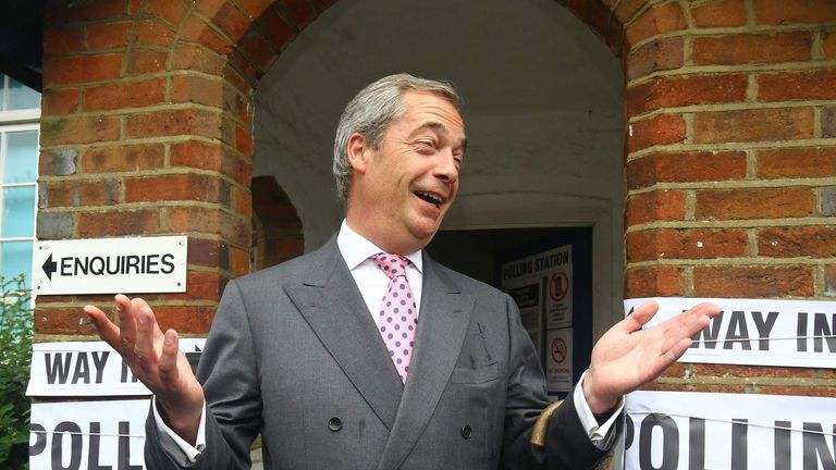 EU Referendum Nigel Farage Polling Station