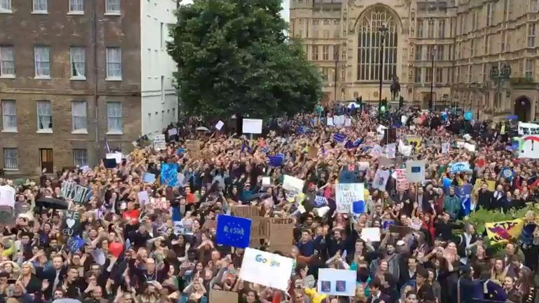 Thousands protest against Brexit outside the House of Commons