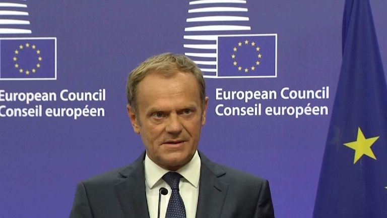 Donald Tusk addresses the European Council