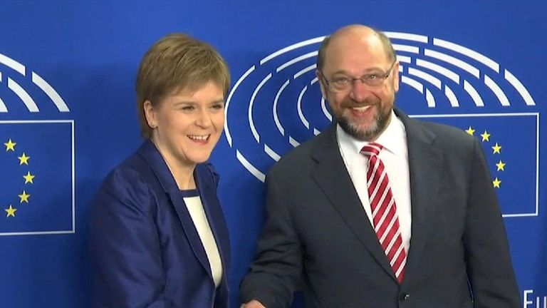 Nichola Sturgeon with EU Parliament president Martin Schulz