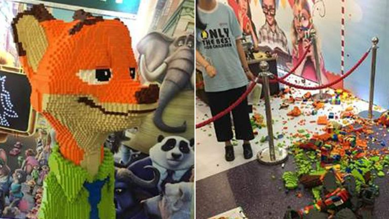 Zootopia Lego statue destroyed