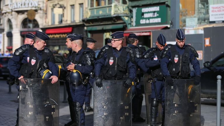 Riot police outside the train station in Lille city centre, France, as fresh clashes take place between England fans and Russian hooligans at Euro 2016