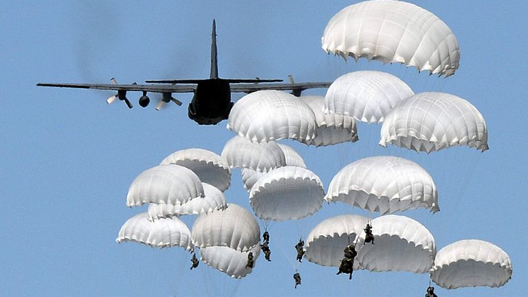 About 2,000 NATO troops from the U.S., Britain, Portugal and Poland conducted an airborne training operation on Tuesday as part of the biggest exercise performed in Poland since the 1989 end of communism and amid concerns over Russia