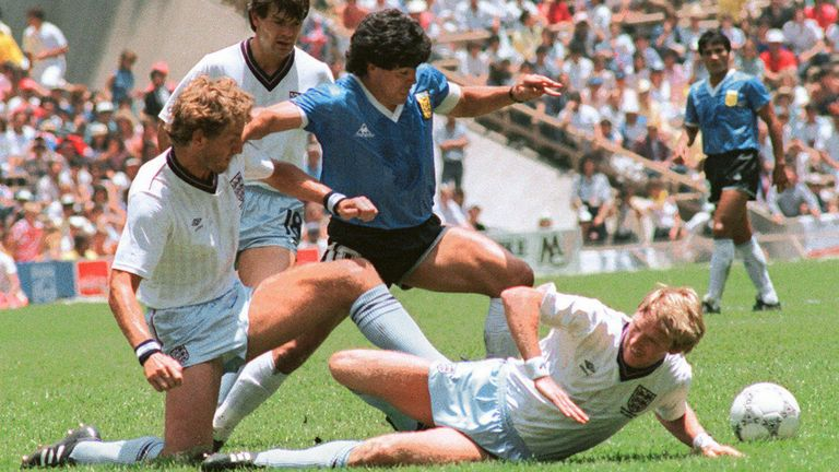 Maradona playing in the World Cup in 1986
