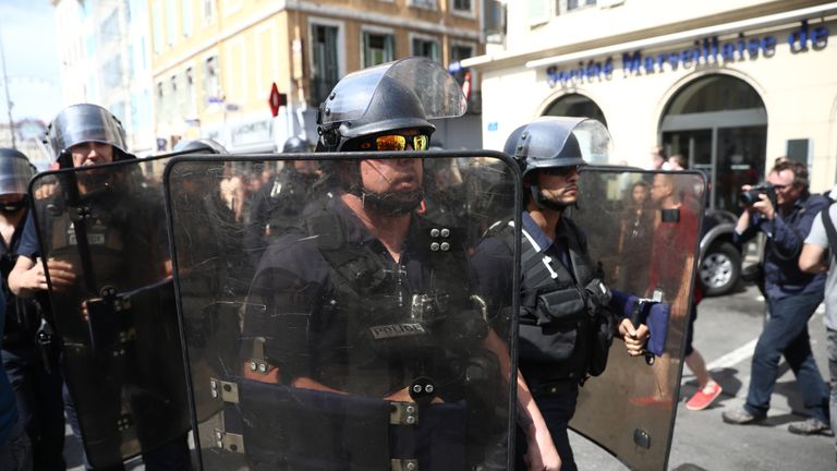 Police in Marseille on Saturday