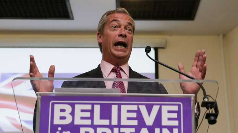 Ukip leader Nigel Farage delivers his final speech of the EU referendum campaign at the Emmanuel Centre in London.