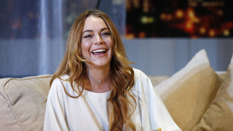 "Actress Lindsay Lohan rehearses a scene from ""Speed-the-Plow"" by David Mamet at the Playhouse Theatre in London"