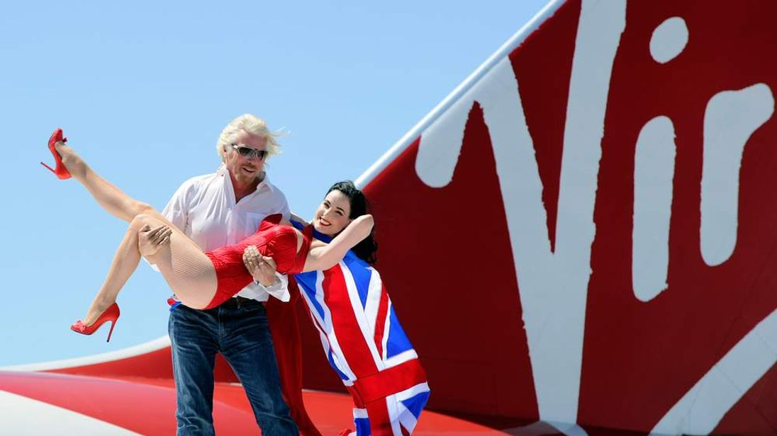 Sir Richard Branson celebrates 10 years of Virgin Atlantic's Las Vegas route
