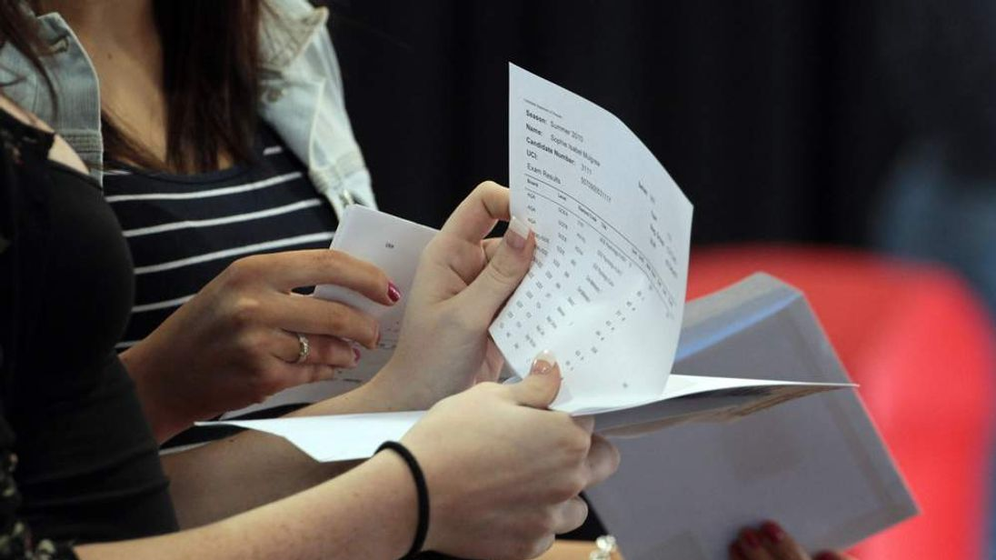 Sixth Form students react as they open their A-level results
