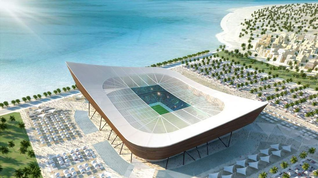 Al Shamal stadium pictured in artist's impression as one of stadiums for World Cup in Qatar.