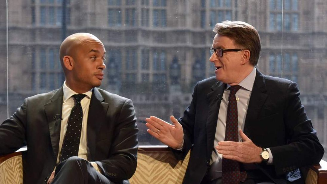 Chuka Umunna and Lord Mandelson sitting on a sofa on BBC's The Andrew Marr Show