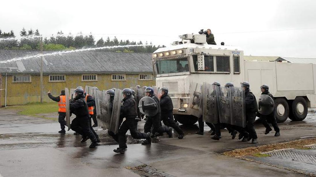UK water cannon use